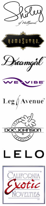 Shirley of Hollywood, Kama Sutra, Dreamgirl, We-Vibe, Leg Avenue, Doc Johnson, Lelo, California Exotics